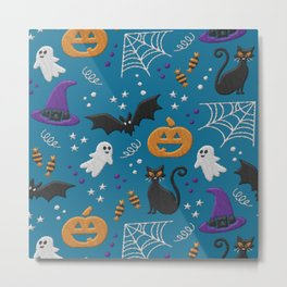 Modern realistic Halloween embroidery on teal Metal Print