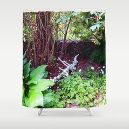Painted Log in Garden Shower Curtain