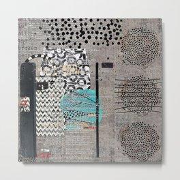 Grey Teal Abstract Art  Metal Print