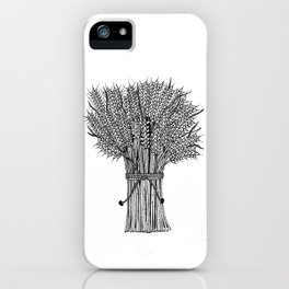 barley crop hand drawn doodle black and white iPhone Case
