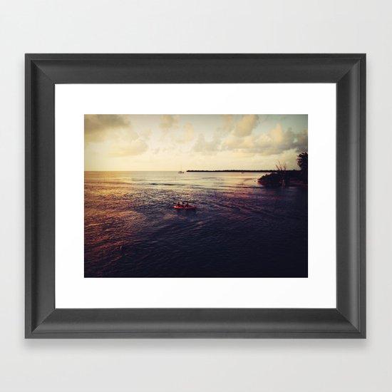 Rowing at Sunset Framed Art Print