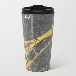 Matte black marble with gold Travel Mug