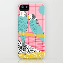 Hottie - throwback retro 1980s 80s style memphis dots bird art neon cool hipster college dorm art iPhone Case