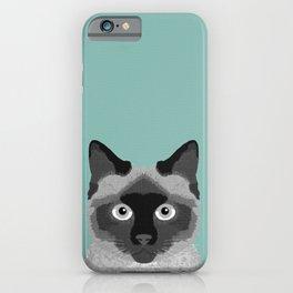 Ezra - Siamese Cat, Cute Kitten Retro Cat Art cell phone case, siamese, cute cat iPhone Case