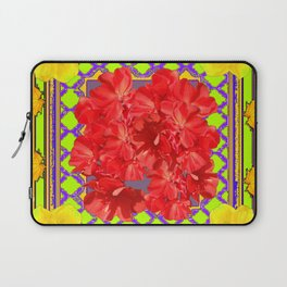 Reddish Flowers & Yellow Amaryllis Green Art Design Laptop Sleeve