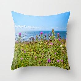 The Lizard Peninsula Thistles Throw Pillow