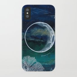 Crescent Moon Mixed Media Painting iPhone Case