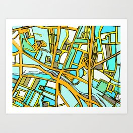 Abstract Map- Medford Square Art Print