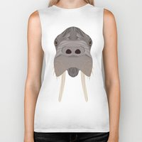 walrus Biker Tanks featuring Walrus by Aaron Keshen