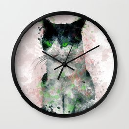 Watercolor Black And White Cat Pink Tint Green Eyes Wall Clock