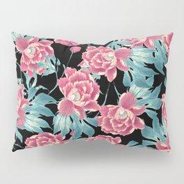 Pink Flowers on Black Pillow Sham