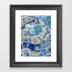 Vintage Postage Stamp Collection - 02 (Blues) Framed Art Print