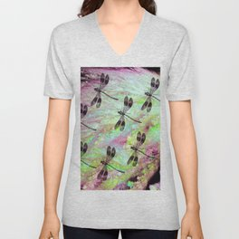 Seven Dragonflies on Green and Pink Bakground Unisex V-Neck