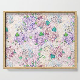 Pastel Purple and blue Lilac & Hydrangea - Flower Design Serving Tray