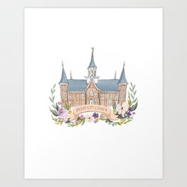 Provo City Center LDS watercolor Temple with flower wreath  Art Print