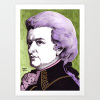 mozart Art Prints featuring Wolfgang Amadeus Mozart by Joseph Walrave