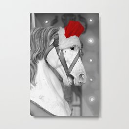 Santa Horse Black and White 3 Metal Print