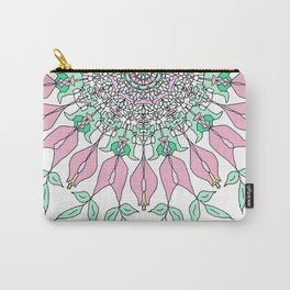 Pastel green leaves with rose pattern Carry-All Pouch