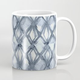 Braided Diamond Indigo Blue on Lunar Gray Coffee Mug