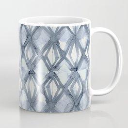 Braided Diamond Indigo Blue on Lunar Gray Coffee Mug