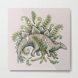 Stegosaurus & Ferns | Dinosaur Botanical Art Metal Print