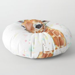 Giraffe Baby Watercolor Floor Pillow