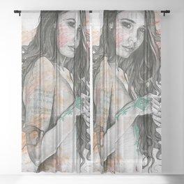 You Lied (nude girl with mandala tattoos) Sheer Curtain
