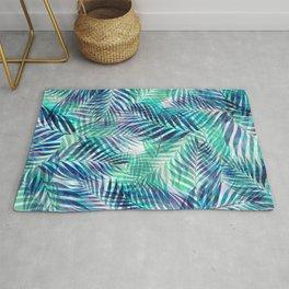Palm Leaves - Indigo Green Rug