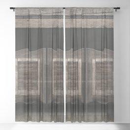 Wild West Saloon with Rustic Wood Doors Sheer Curtain
