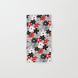 Funky Flowers in Red, Gray, Black and White Hand & Bath Towel