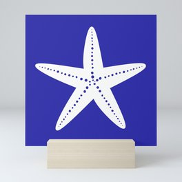 Starfish (White & Navy Blue) Mini Art Print
