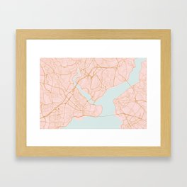Istanbul map, Turkey Framed Art Print