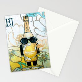 Champagne PJ yellow cartoon illustration original painting print Stationery Cards
