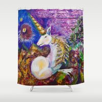 unicorn Shower Curtains featuring Unicorn by CrismanArt