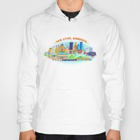cities Hoodies featuring Twin Cities by Jane Gardner