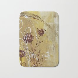 Yellow Tan Spring Abstract Flowers. Jodilynpaintings. Abstract Floral Bath Mat