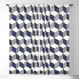 Geometric Cube Pattern - Concrete Gray, White, Blue Blackout Curtain
