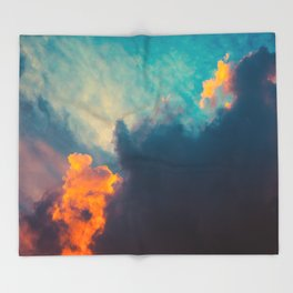 Beautiful Colorful Cotton Candy Clouds Blue Orange hues Ombre Gradient Fluffy Cotton Candy Texture Throw Blanket