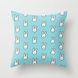 Cute Bunny Pattern (Blue) Throw Pillow
