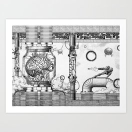 Mother Brain Super Metroid Engraving Scene Art Print