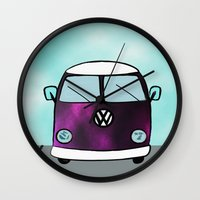 hippie Wall Clocks featuring Hippie Van  by The Bohemian Bubble
