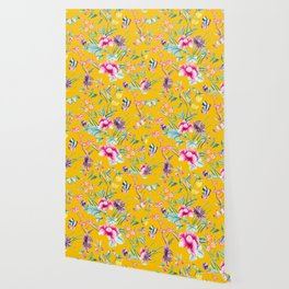 Chinoiserie mustard yellow floral Wallpaper