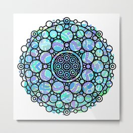 Modern Geometric Mandala Black and Mixed Colors Metal Print