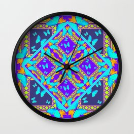 Western Style Purple Turquoise Butterflies Creamy Gold Patterns Wall Clock