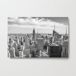 New York City Cityscape (Black and White) Metal Print