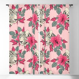 Classy cactus flowers and leopards design Blackout Curtain