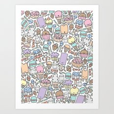 Kawaii Sweet Treats Art Print