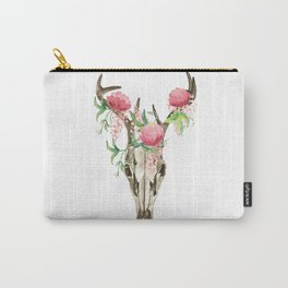 Bohemian deer skull and antlers with flowers Carry-All Pouch