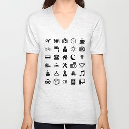 Basic black model: Traveler emoticon help for travel t-shirt Unisex V-Neck