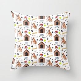 English Bulldog Half Drop Repeat Pattern Throw Pillow